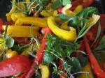 Rostad paprika med röd chili och färska örter