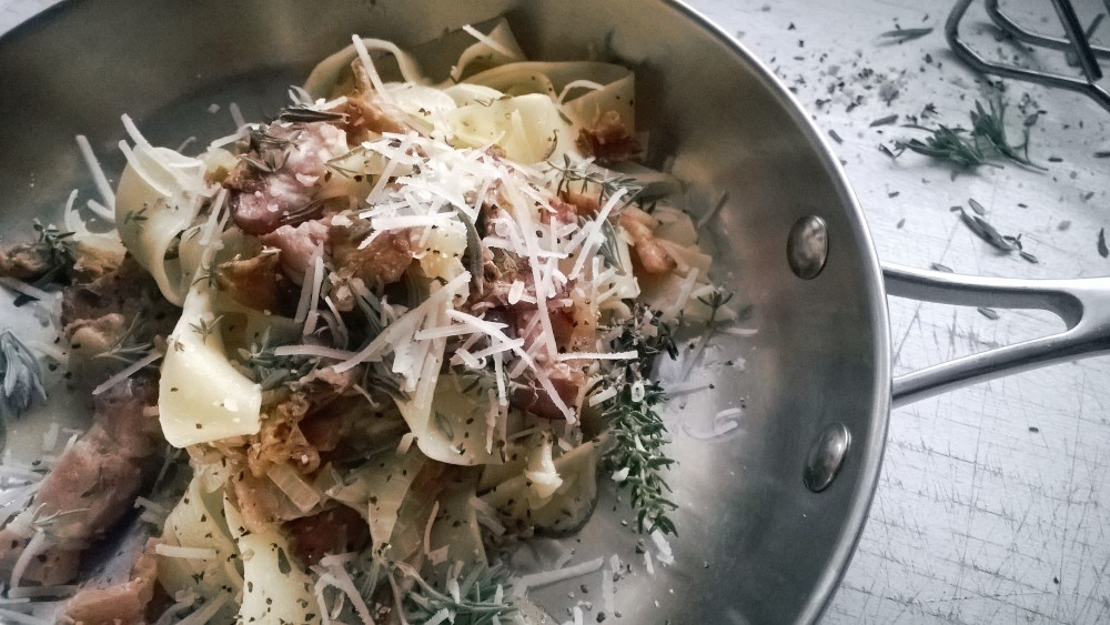 Pappardelle, kantarell, sidfläsk, parmesan